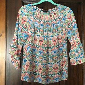 Floral print top smocked bell sleeve petite small